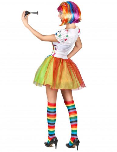 Veelkleurige verf clown kostuum voor vrouwen-2