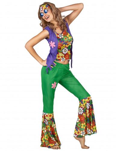 Veelkleurig hippie Flower Power kostuum voor vrouwen