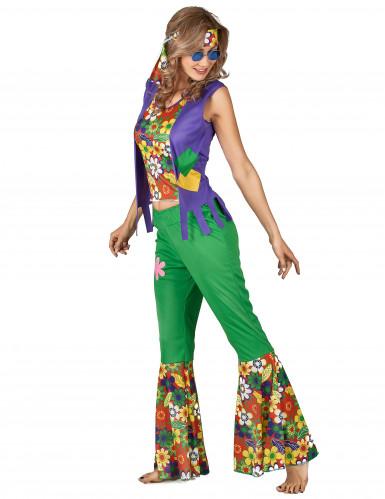 Veelkleurig hippie Flower Power kostuum voor vrouwen-1