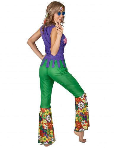 Veelkleurig hippie Flower Power kostuum voor vrouwen-2