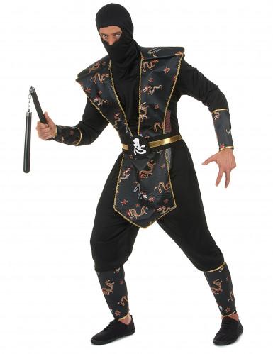 Goudkleurige draken ninja kostuum voor mannen-1