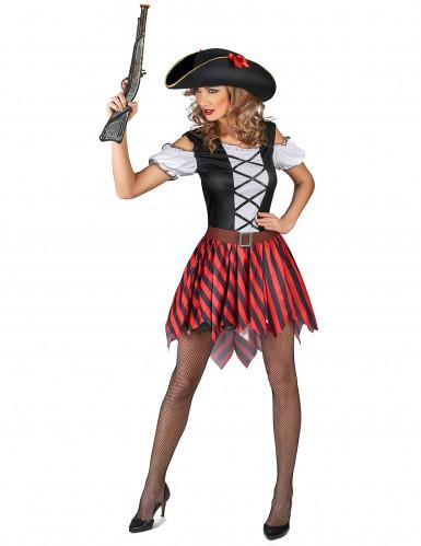 Rood en zwart gestreept piratenkostuum voor vrouwen-1