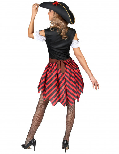 Rood en zwart gestreept piratenkostuum voor vrouwen-2