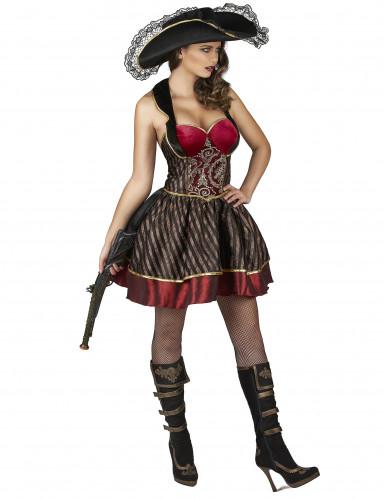 Barok rood en goudkleurig piraten kostuum voor vrouwen-1