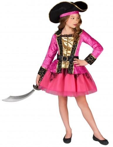 Roze en goudkleurig piraten kostuum voor meisjes