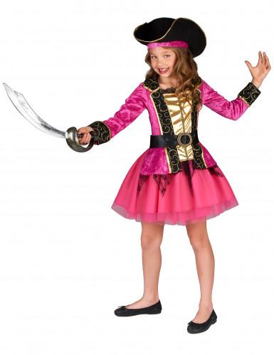 Roze en goudkleurig piraten kostuum voor meisjes-1