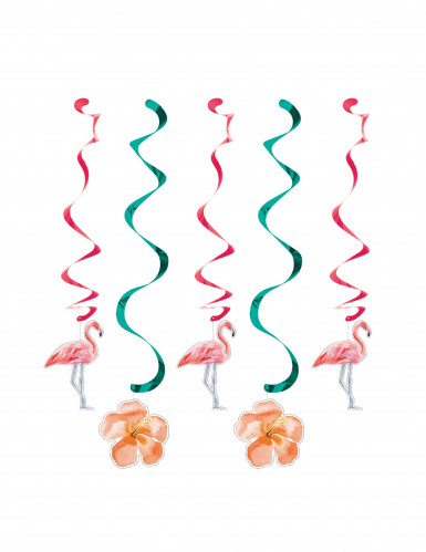 5 Flamingo spiralen decoraties
