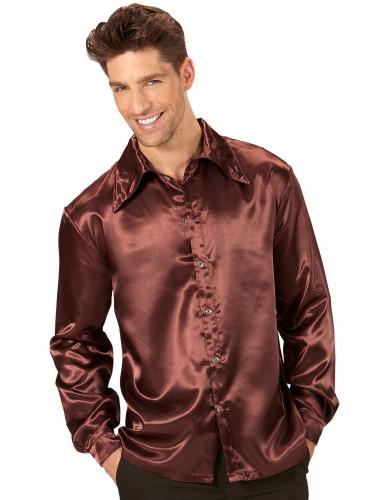 Bruine satijnachtige blouse voor mannen