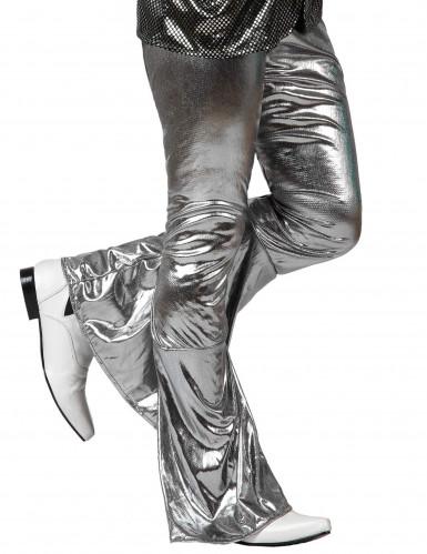 Zilverkleurige disco broek voor mannen