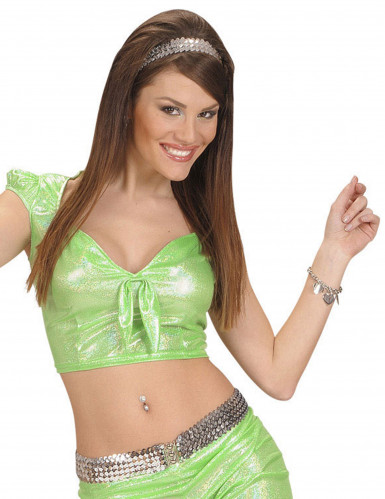 Sexy groene glitter top met strik voor vrouwen