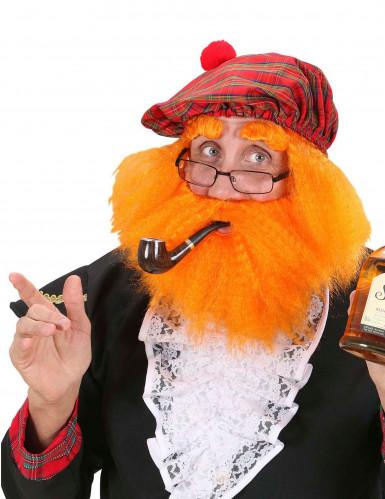 Schotse baret met pruik baard en wenkbrauwen