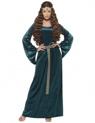 Groen en goudkleurig middeleeuws kostuum voor vrouwen