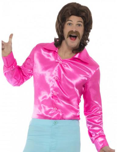 Fluo roze satijnachtige blouse voor mannen