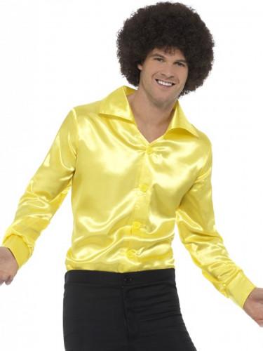 Fluo gele satijnachtige blouse voor mannen