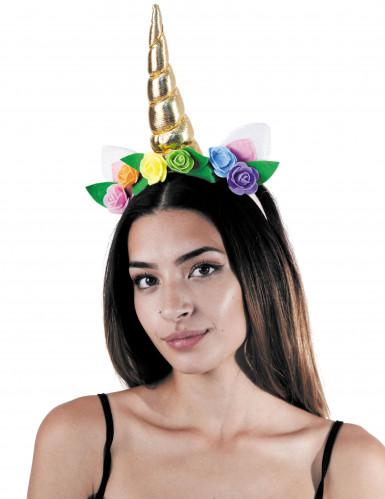 Eenhoorn haarband met bloemen voor volwassenen