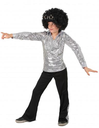 Zilverkleurig disco kostuum voor jongens-1