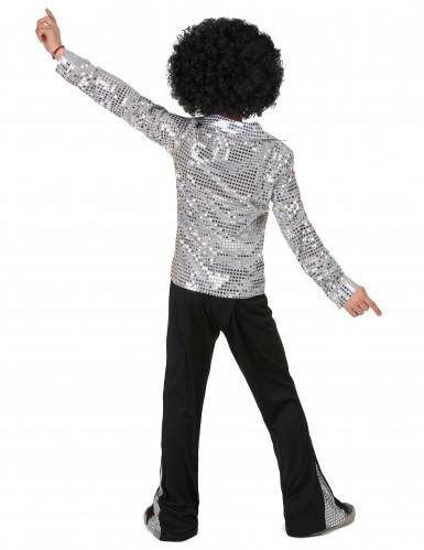 Zilverkleurig disco kostuum voor jongens-2