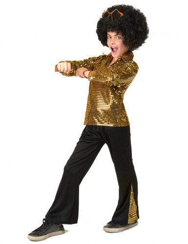 Goudkleurig lovertjes disco kostuum voor jongens-1