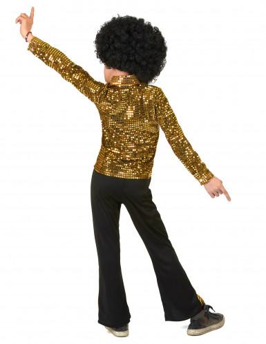 Goudkleurig lovertjes disco kostuum voor jongens-2
