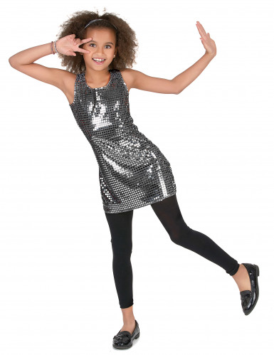 Zilverkleurig disco kostuum voor meisjes