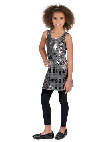 Zilverkleurig disco kostuum voor meisjes-1