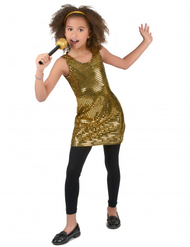 Goudkleurig glitter disco kostuum voor meisjes-1