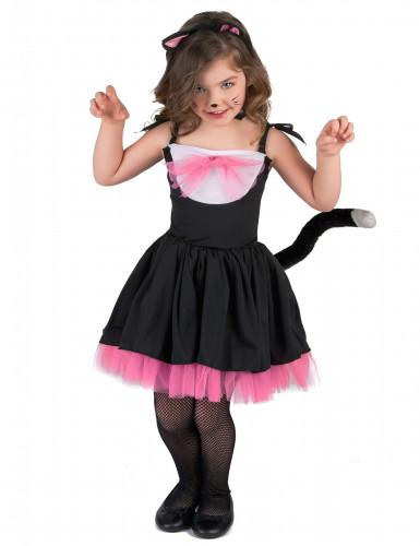 Zwart en roze katten kostuum voor meisjes