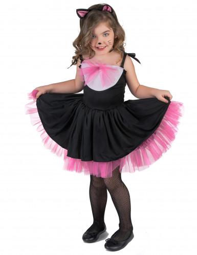 Zwart en roze katten kostuum voor meisjes-1