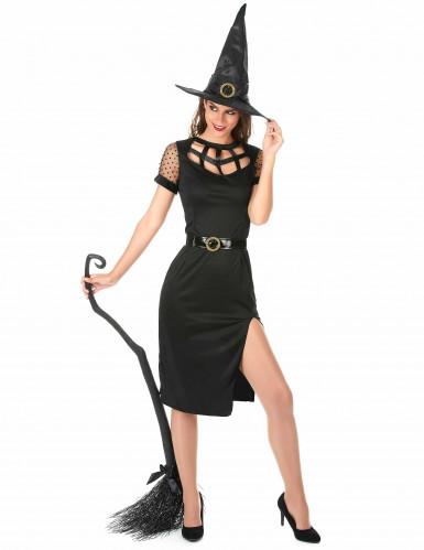 Sexy zwart heksen kostuum voor vrouwen