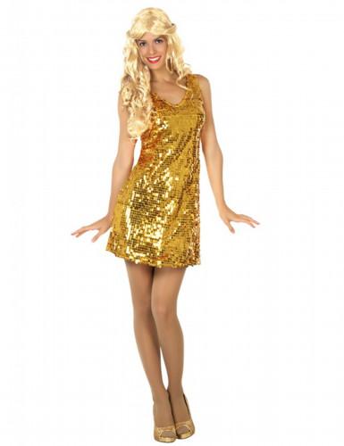 Sexy goudkleurig disco kostuum voor vrouwen