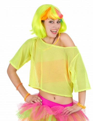 Geel netstof jaren 80 t-shirt voor vrouwen