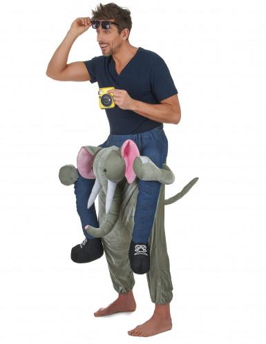 Man op rug van olifant kostuum voor volwassenen-1