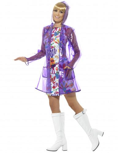 Paarse jaren 60 regenjas voor dames-1