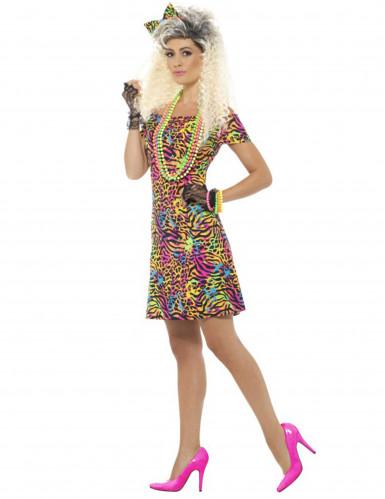 Jaren 80 fluo luipaard kostuum voor vrouwen-2