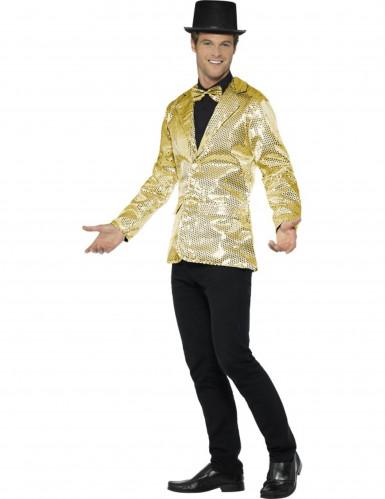 Luxe goudkleurige disco jasje met lovertjes voor mannen-2