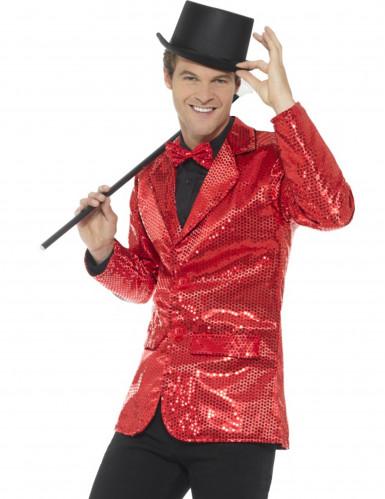 Luxe rood discojasje met lovertjes voor mannen