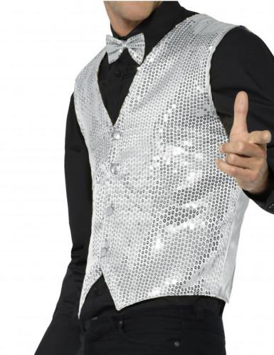 Zilverkleurig jasje met lovertjes voor volwassenen