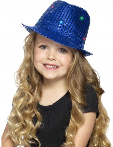 Blauwe hoed met lovertjes en LEDs voor volwassenen-1