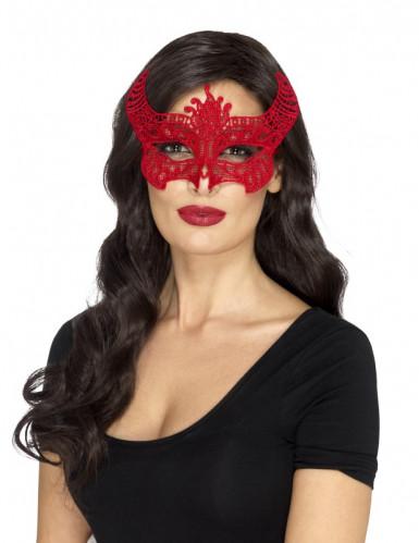 Rood duivel kant masker voor vrouwen