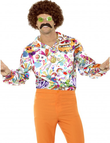 Satijnachtige jaren 60 hippie blouse voor mannen