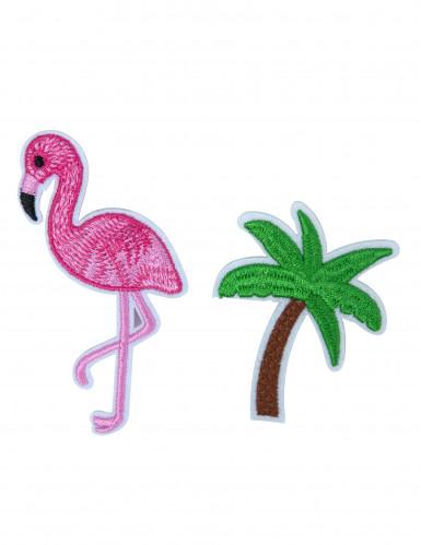Set flamingo en palmboom broches