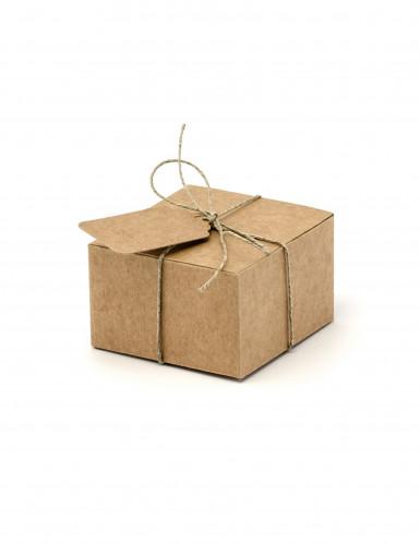 10 kleine kartonnen doosjes met etiketten