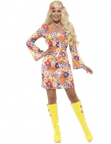 Oranje flower power kostuum voor vrouwen
