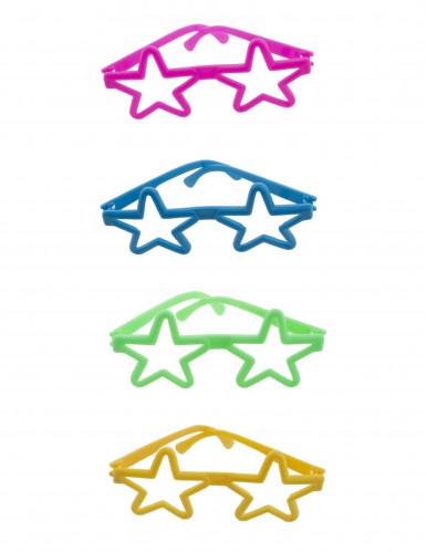 4 kleurrijke mini brillen