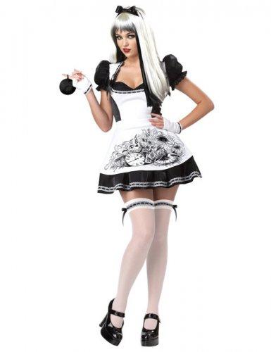 Sexy zwart wit Alice kostuum voor vrouwen