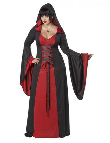 Duistere jurk met capuchon voor vrouwen - Grote Maten