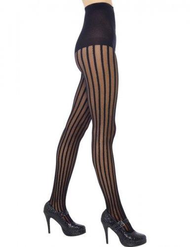 Zwarte panty met strepen voor vrouwen