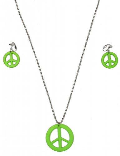 Groene hippie oorbellen en ketting volwassenen