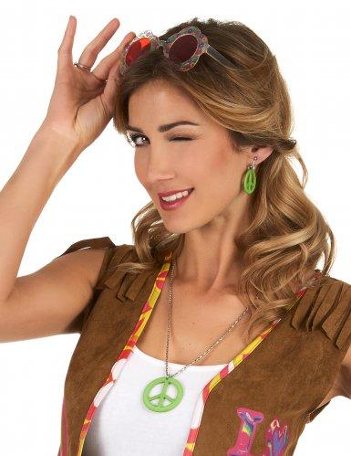 Groene hippie oorbellen en ketting volwassenen-1