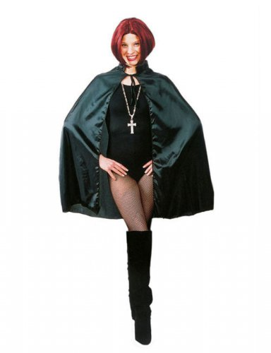Zwarte satijnachtige cape